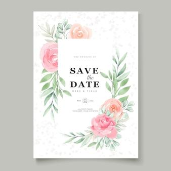 Karta zaproszenie na ślub kwiatowy akwarela
