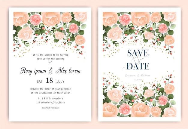 Karta zaproszenie na ślub kwiatowy ręcznie rysowane ramki.