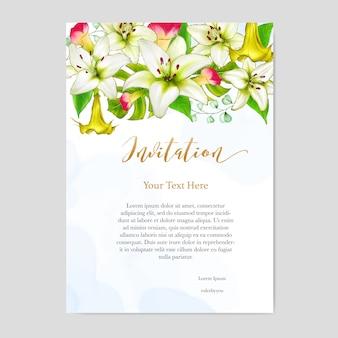 Karta zaproszenie na ślub kwiatowy wzór