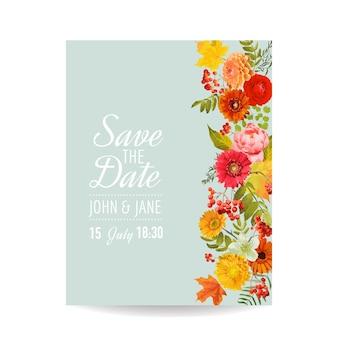 Karta zaproszenie na ślub kwiatowy z jesiennych kwiatów, liści i jarzębiny. dekoracja baby shower w