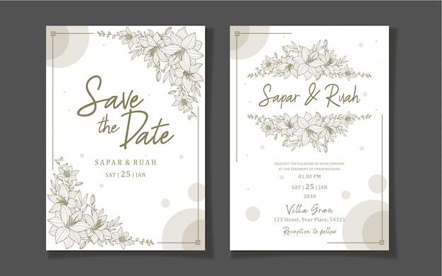 Karta zaproszenie na ślub kwiatowy z szkic luksus elegancki
