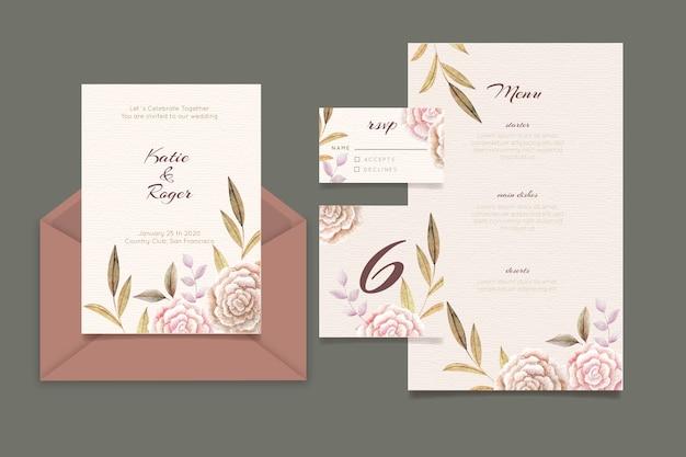 Karta zaproszenie na ślub kwiatowy