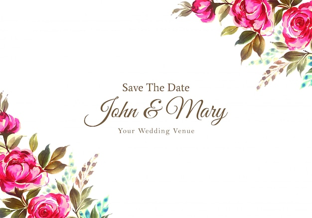 Karta zaproszenie na ślub kwiaty ozdobne akwarela