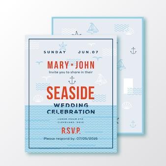 Karta zaproszenie na ślub lub szablon biletu od strony morza.