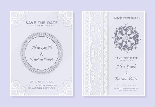 Karta zaproszenie na ślub ozdobny w delikatnym kolorze