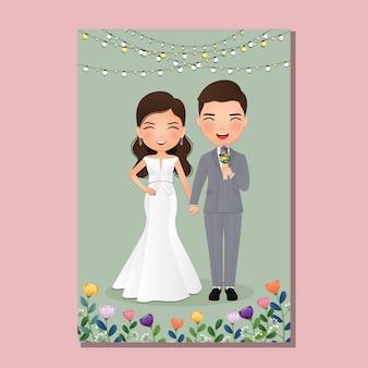Karta zaproszenie na ślub panna młoda i pan młody cute para postać z kreskówki.