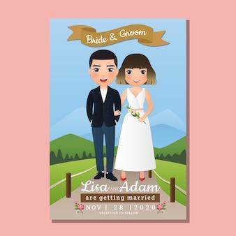 Karta zaproszenie na ślub pary młodej kreskówka z krajobraz piękny w tle wiosną