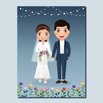 Karta zaproszenie na ślub pary młodej postać z kreskówki.