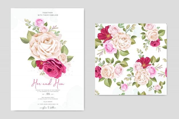 Karta zaproszenie na ślub piękny kwiatowy szablon ramki