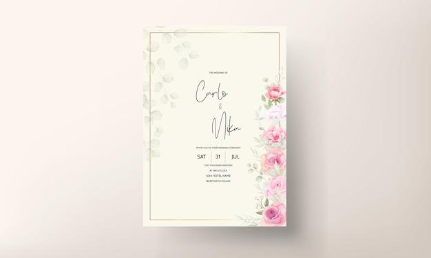Karta zaproszenie na ślub piękny miękki kwiat