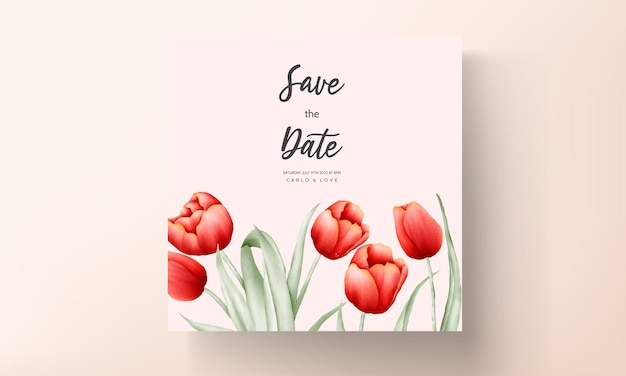 Karta zaproszenie na ślub romantyczny kwiat tulipana