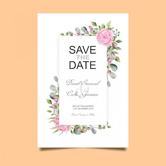 Karta zaproszenie na ślub róża w stylu przypominającym akwarele