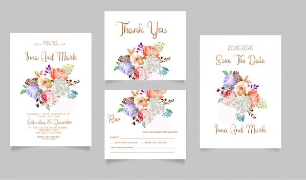 Karta zaproszenie na ślub rsvp i zapisz datę dziękuję karty