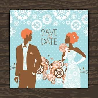 Karta zaproszenie na ślub. vintage ilustracja z nowożeńcami
