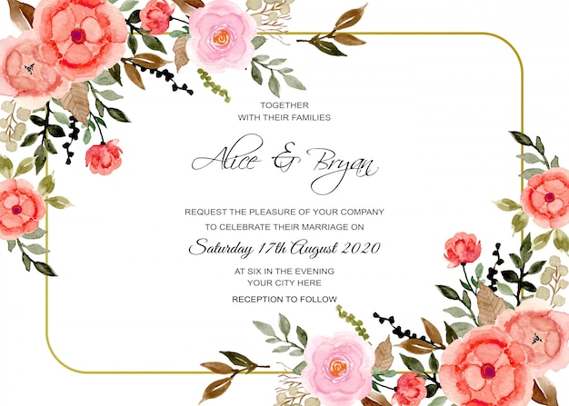 Karta zaproszenie na ślub, vintage kwiatowy akwarela