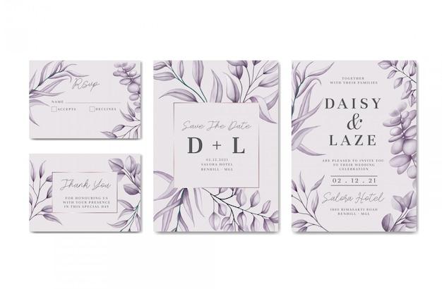 Karta zaproszenie na ślub w stylu vintage z kwiatową ramą zestaw kolekcja paczek