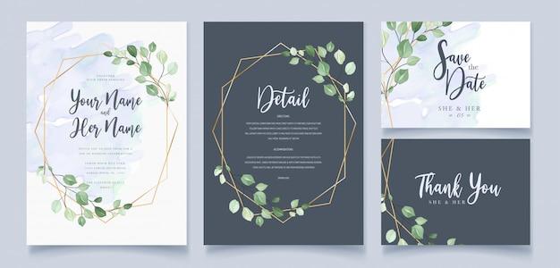 Karta zaproszenie na ślub w zielonych liściach