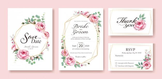 Karta zaproszenie na ślub. wektor. królowa szwecji podniosła się.