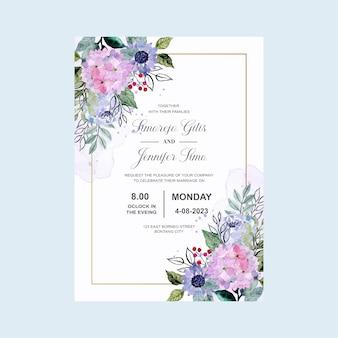 Karta zaproszenie na ślub z akwarela fioletowy kwiat