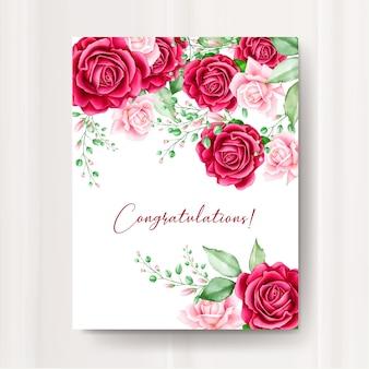 Karta zaproszenie na ślub z akwarela kwiatowy szablon