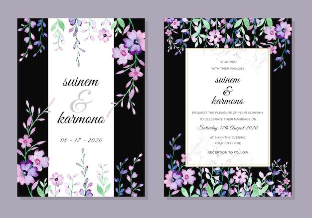 Karta zaproszenie na ślub z akwarela kwiatowy