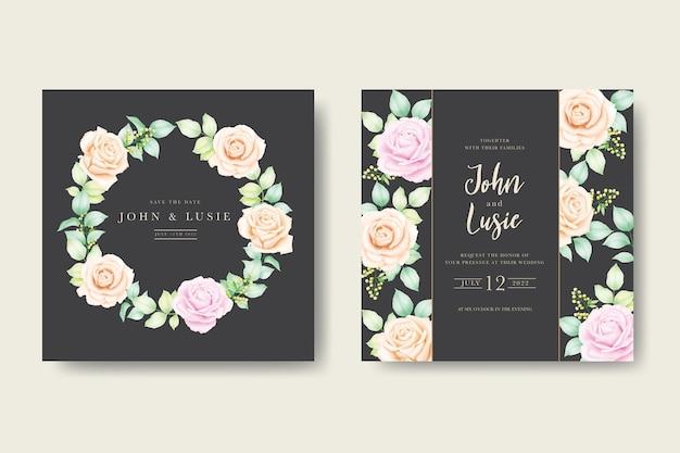 Karta zaproszenie na ślub z akwarela liści kwiatowy