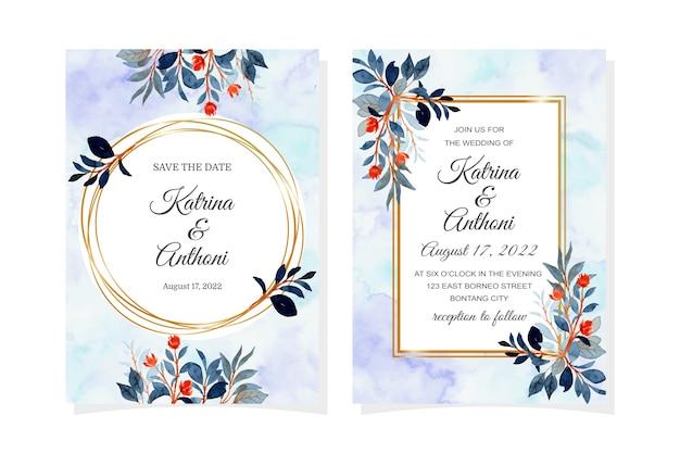 Karta zaproszenie na ślub z akwarela niebieskie liście