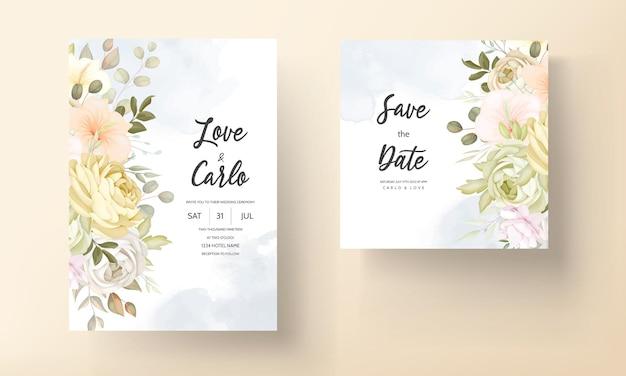 Karta zaproszenie na ślub z ciepłą, miękką jesienną kwiecistą jesienią