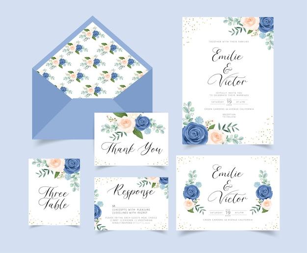 Karta zaproszenie na ślub z dekoracją kwiatową i liśćmi