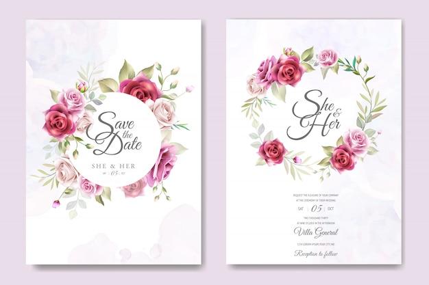 Karta zaproszenie na ślub z eleganckimi różami