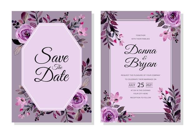 Karta zaproszenie na ślub z fioletowym kwiatowy akwarela