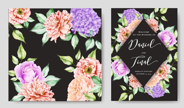 Karta zaproszenie na ślub z kolorowych kwiatów i liści