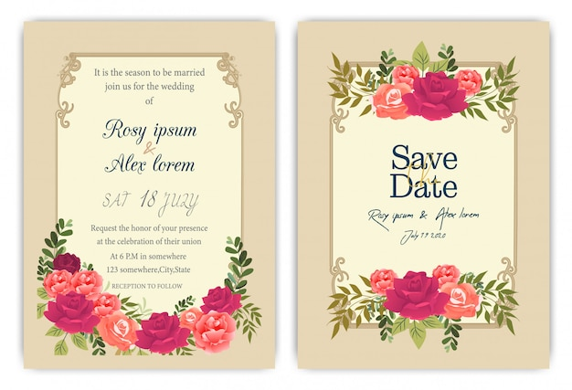 Karta zaproszenie na ślub z kolorowych kwiatów i liści.