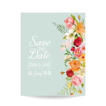 Karta zaproszenie na ślub z kwiatami lilii i orchidei. dekoracja na baby shower