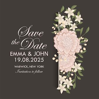 Karta zaproszenie na ślub z kwiatami. szablon. ilustracja wektorowa