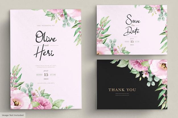 Karta zaproszenie na ślub z kwiatami