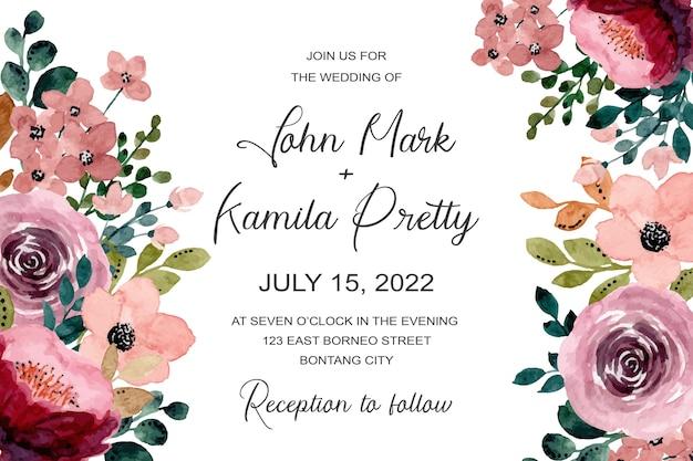 Karta zaproszenie na ślub z kwiatową akwarelą