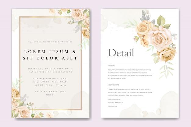Karta zaproszenie na ślub z kwiatowy szablon