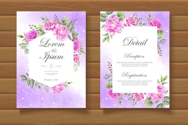 Karta zaproszenie na ślub z kwiatowym motywem kwiatowym