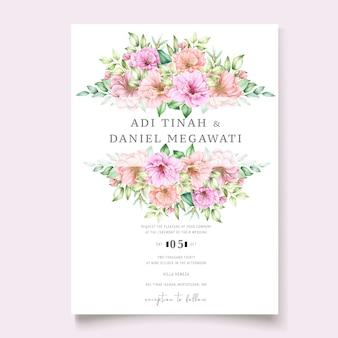 Karta zaproszenie na ślub z kwiatowym wzorem wiśni