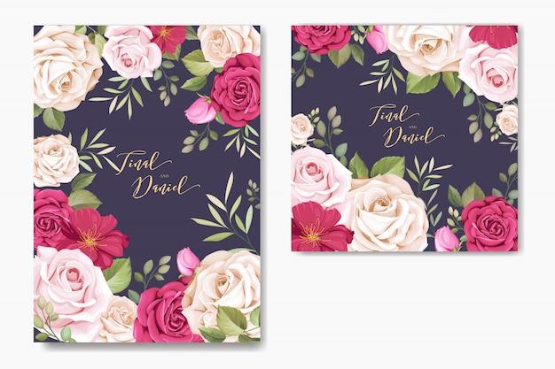 Karta zaproszenie na ślub z kwiatowymi elementami