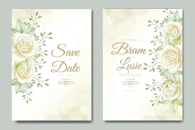 Karta zaproszenie na ślub z kwiatowymi liśćmi akwarela