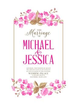 Karta zaproszenie na ślub z kwitnącym kwiatem.