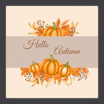 Karta zaproszenie na ślub z liści jesienią