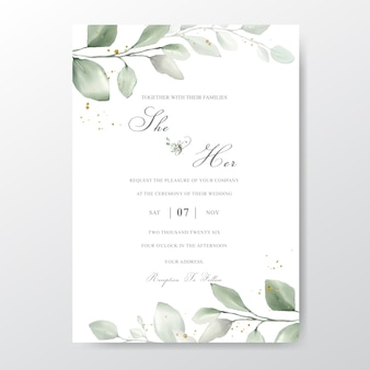 Karta zaproszenie na ślub z liści