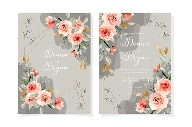 Karta zaproszenie na ślub z miękkim różowym kwiatem akwarela