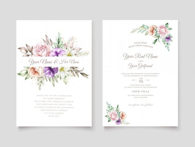 Karta zaproszenie na ślub z miękkim zielonym akwarelą w kwiaty