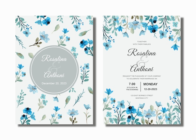 Karta zaproszenie na ślub z niebieską dziką kwiatową akwarelą