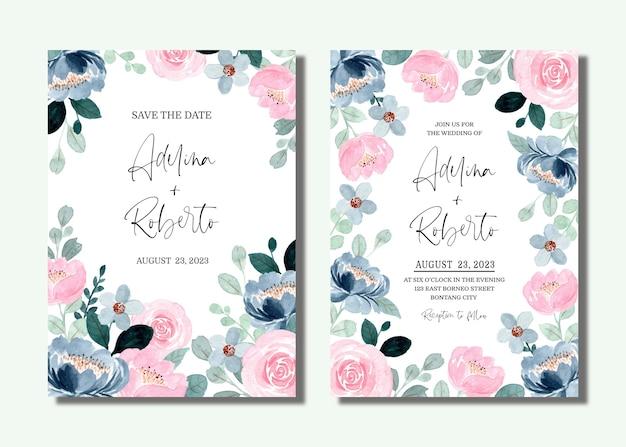 Karta zaproszenie na ślub z niebieską różową kwiatową akwarelą