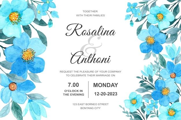 Karta zaproszenie na ślub z niebieskim akwarelą kwiatowy